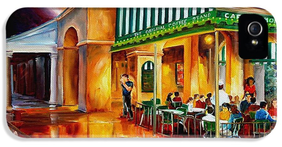 New Orleans Paintings IPhone 5 Case featuring the painting Midnight At The Cafe Du Monde by Diane Millsap