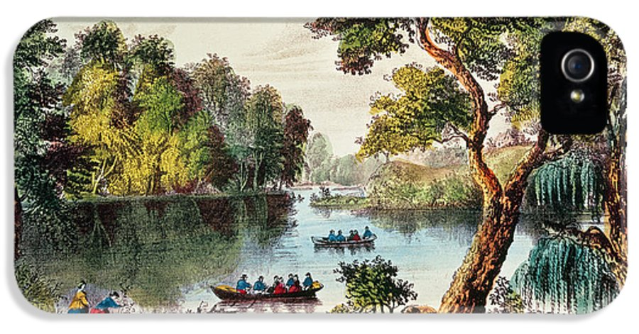 Hudson River IPhone 5 Case featuring the painting Mill Cove Lake by Currier and Ives