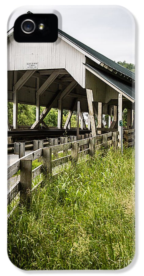 Covered IPhone 5 Case featuring the photograph Millers Run Covered Bridge by Edward Fielding