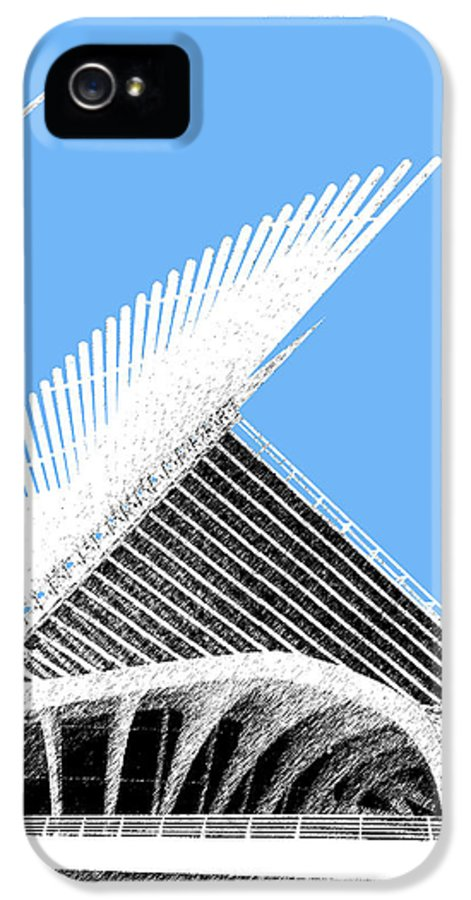Architecture IPhone 5 Case featuring the digital art Milwaukee Skyline Art Museum - Light Blue by DB Artist