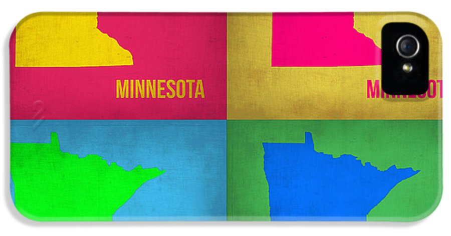 IPhone 5 Case featuring the painting Minnesota Pop Art Map 1 by Naxart Studio
