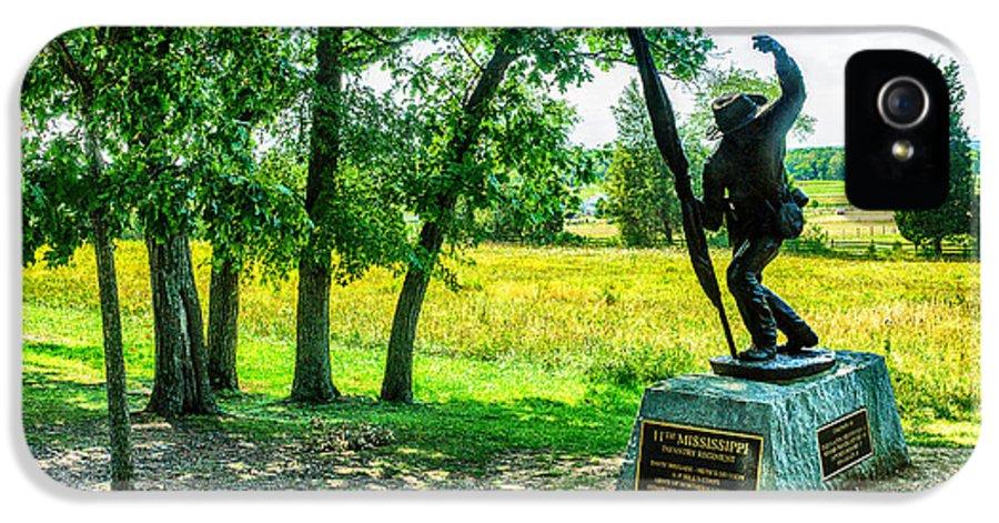 Grand IPhone 5 Case featuring the digital art Mississippi Memorial Gettysburg Battleground by Bob and Nadine Johnston