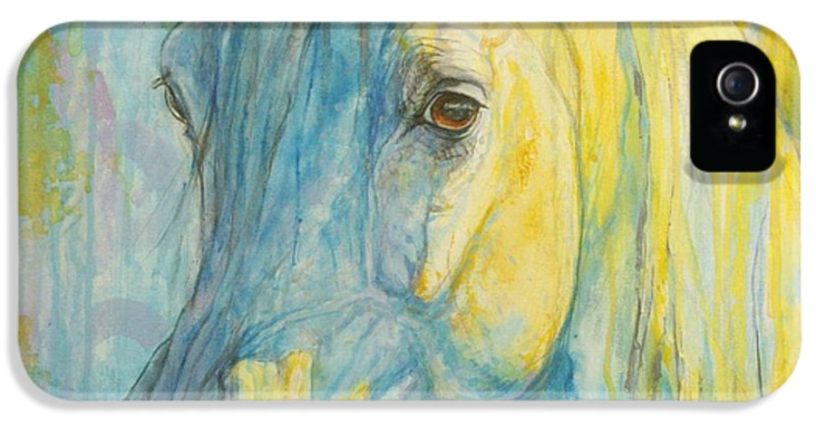 Horse IPhone 5 Case featuring the painting Misterious Blues by Silvana Gabudean Dobre