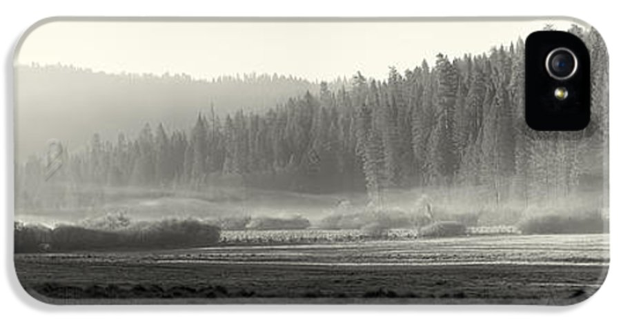 Yosemite IPhone 5 Case featuring the photograph Misty Morning In Yosemite Sepia by Jane Rix