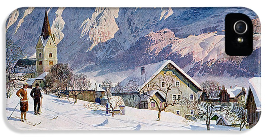 Snow IPhone 5 Case featuring the painting Mitterndorf In Austria by Gustave Jahn