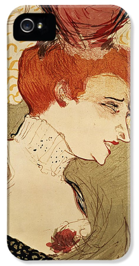 Red Hair IPhone 5 Case featuring the painting Mlle Marcelle Lender by Henri de Toulouse-Lautrec