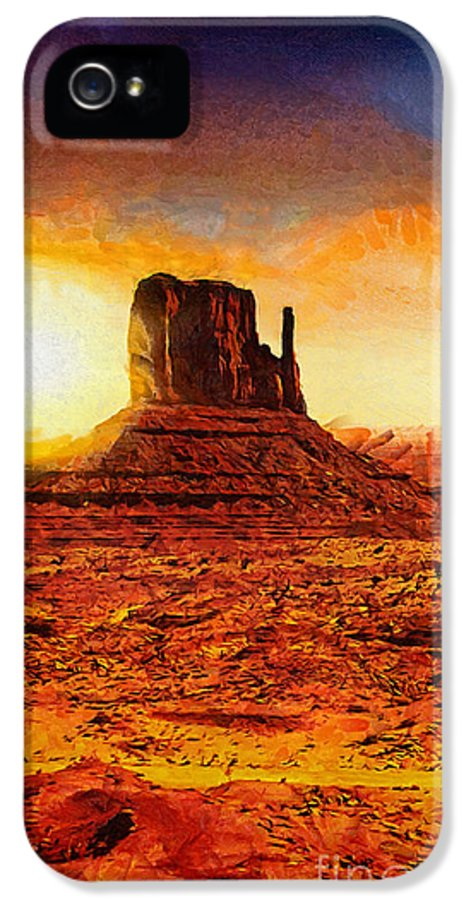 Monument Valley IPhone 5 Case featuring the painting Monument Valley by Mo T