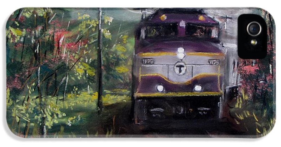 Train IPhone 5 Case featuring the painting Morning Outbound by Jack Skinner