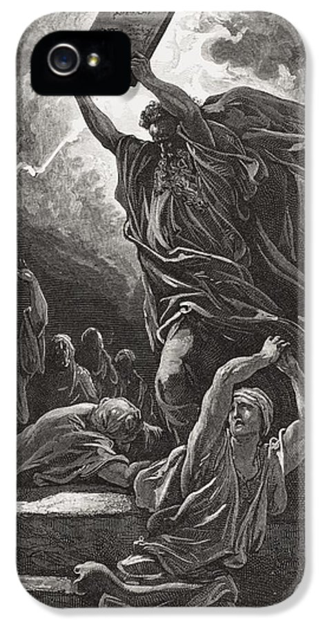 Tables IPhone 5 Case featuring the painting Moses Breaking The Tablets Of The Law by Gustave Dore