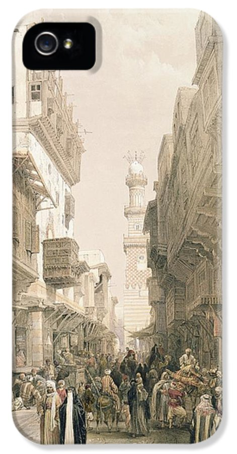 Street IPhone 5 Case featuring the painting Mosque El Mooristan by David Roberts