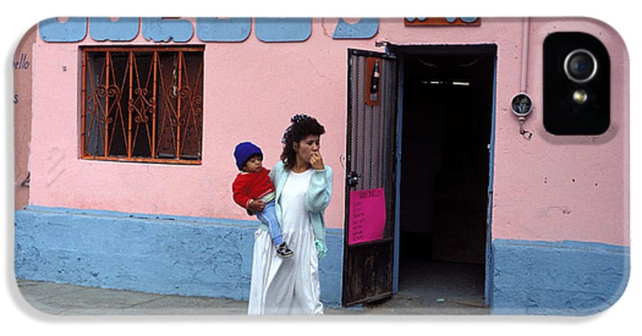 Juarez IPhone 5 Case featuring the photograph Mother Holding Child Waiting by Mark Goebel
