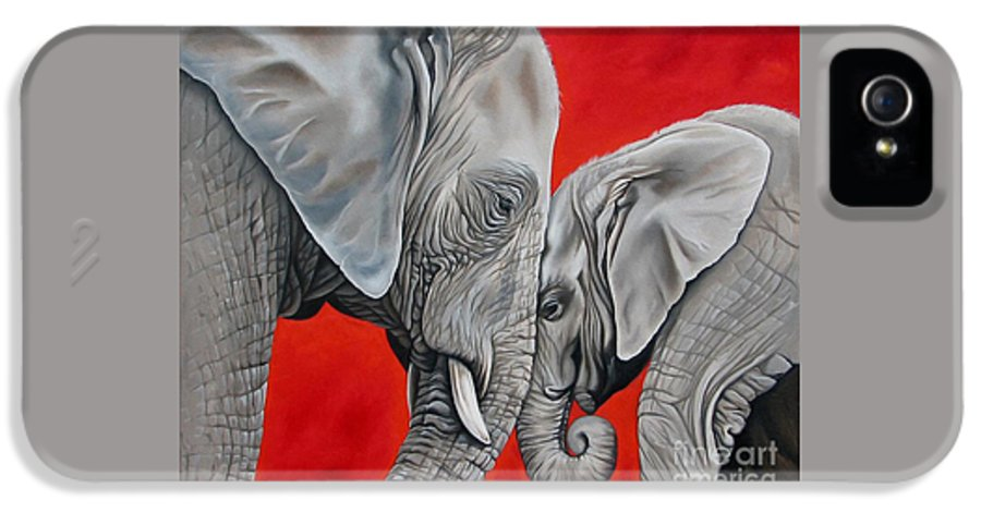 Elephant IPhone 5 Case featuring the painting Mothers Love by Ilse Kleyn