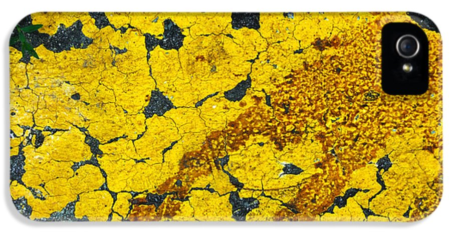 Asphalt IPhone 5 Case featuring the photograph Motor Oil On Yellow by Robert Knight
