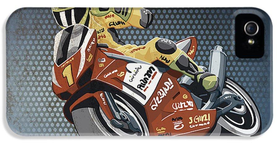 Motorcycle IPhone 5 Case featuring the digital art Motorbike Racing Grunge Color by Frank Ramspott