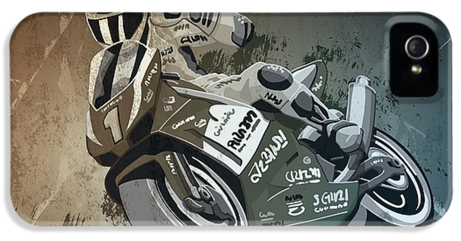 Motorcycle IPhone 5 Case featuring the drawing Motorbike Racing Grunge Monochrome by Frank Ramspott