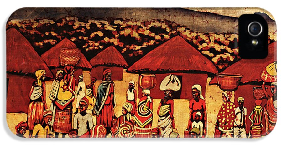 Batik IPhone 5 Case featuring the tapestry - textile Mount Kilimanjaro by Eamonn Hogan