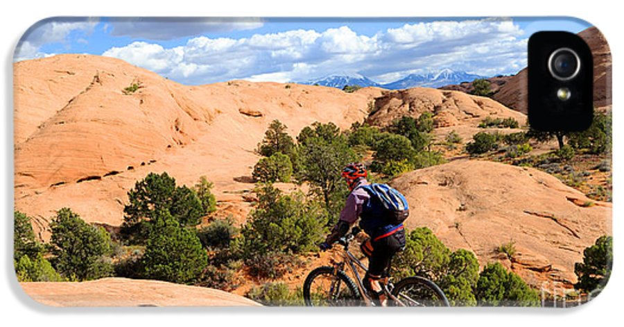 Moab IPhone 5 Case featuring the photograph Mountain Biking Moab Slickrock Trail - Utah by Gary Whitton