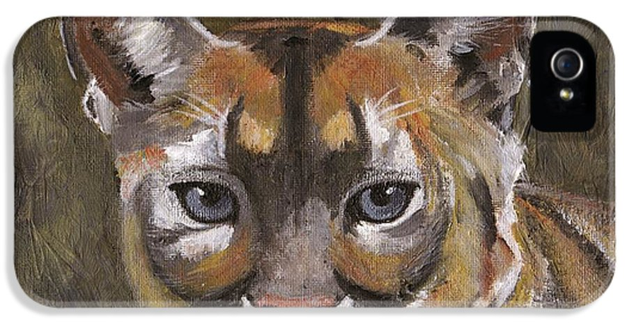 Black IPhone 5 Case featuring the painting Mountain Cat by Jamie Frier