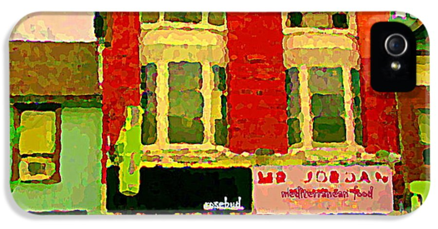 Toronto IPhone 5 / 5s Case featuring the painting Mr Jordan Mediterranean Food Cafe Cabbagetown Restaurants Toronto Street Scene Paintings C Spandau by Carole Spandau
