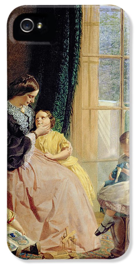 Family Group IPhone 5 Case featuring the painting Mrs Hicks Mary Rosa And Elgar by George Elgar Hicks