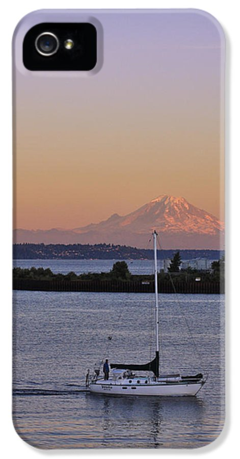 3scape Photos IPhone 5 Case featuring the photograph Mt. Rainier Afterglow by Adam Romanowicz