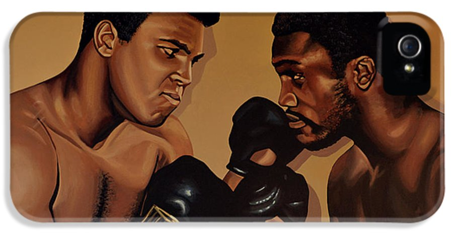 Mohammed Ali Versus Joe Frazier IPhone 5 Case featuring the painting Muhammad Ali And Joe Frazier by Paul Meijering