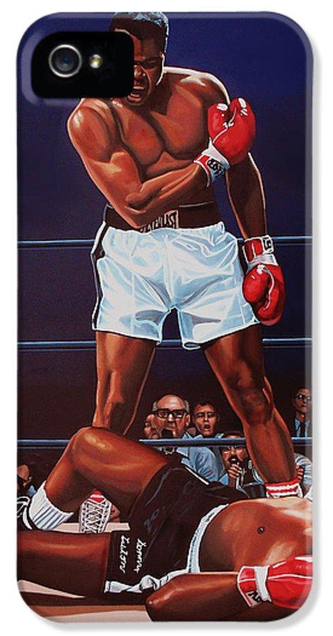 Mohammed Ali Versus Sonny Liston IPhone 5 Case featuring the painting Muhammad Ali Versus Sonny Liston by Paul Meijering