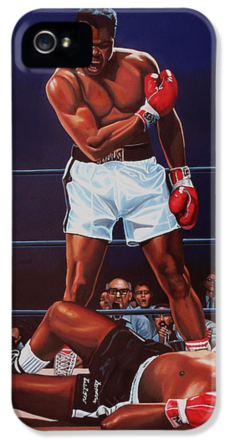 Mohammed Ali Versus Sonny Liston IPhone 5 / 5s Case featuring the painting Muhammad Ali Versus Sonny Liston by Paul Meijering