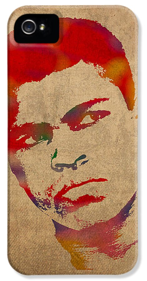 Muhammad Ali Boxer Sports The Greatest Watercolor Portrait On Worn Distressed Canvas IPhone 5 Case featuring the mixed media Muhammad Ali Watercolor Portrait On Worn Distressed Canvas by Design Turnpike