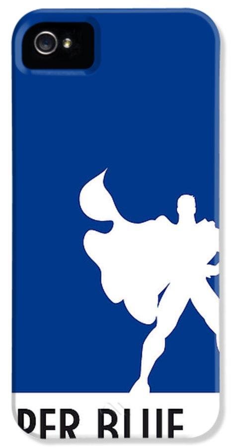 Superheroes IPhone 5 Case featuring the digital art My Superhero 03 Super Blue Minimal Poster by Chungkong Art
