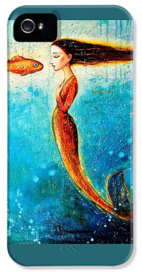 Mermaid Art IPhone 5 Case featuring the painting Mystic Mermaid II by Shijun Munns
