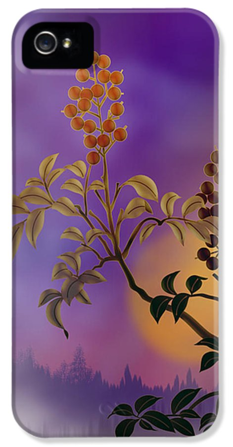 Nature IPhone 5 Case featuring the digital art Nandina The Beautiful by Bedros Awak