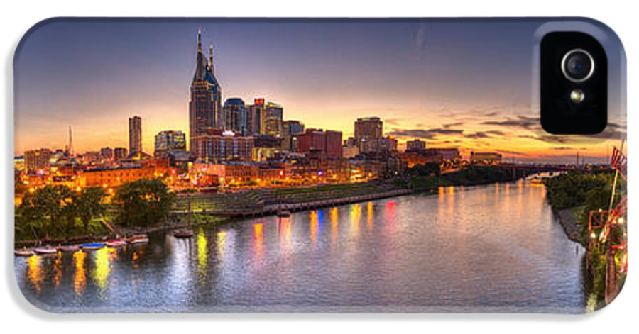 Pano IPhone 5 Case featuring the photograph Nashville Skyline Panorama by Brett Engle