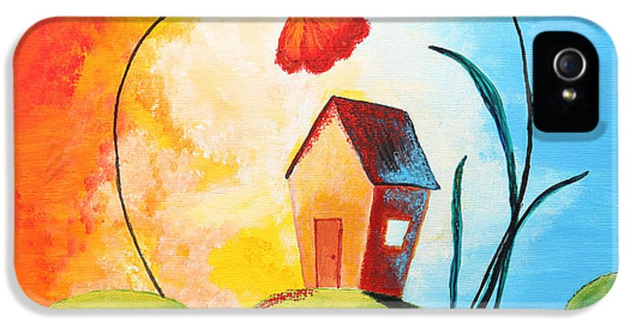 Apartment IPhone 5 Case featuring the painting Nature Spills Colour On My House by Nirdesha Munasinghe