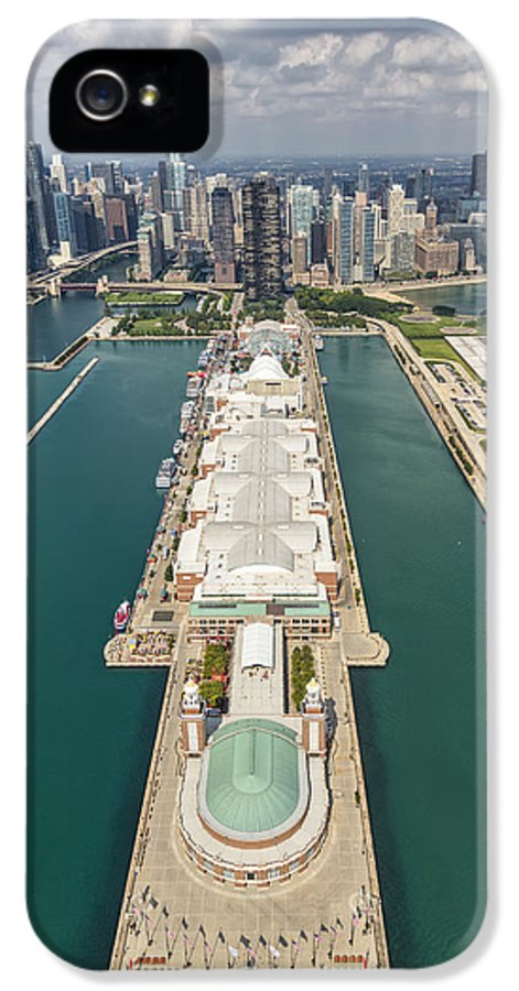 3scape Photos IPhone 5 Case featuring the photograph Navy Pier Chicago Aerial by Adam Romanowicz