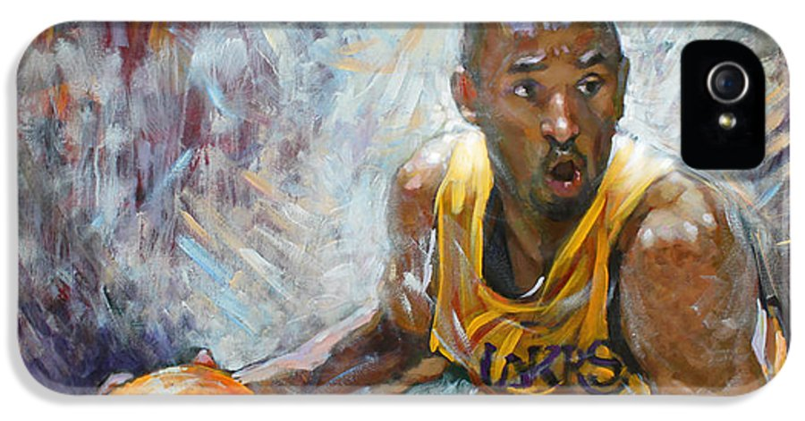 Lakers IPhone 5 Case featuring the painting Nba Lakers Kobe Black Mamba by Ylli Haruni