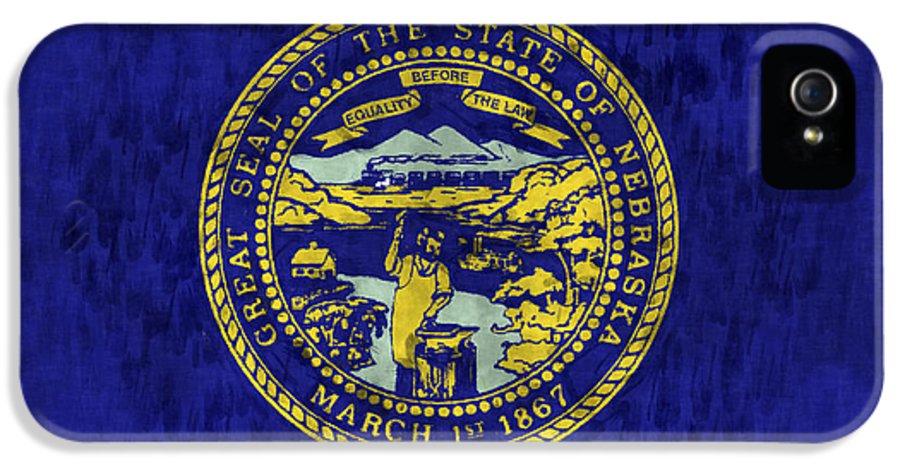 Nebraska IPhone 5 Case featuring the digital art Nebraska Flag by World Art Prints And Designs