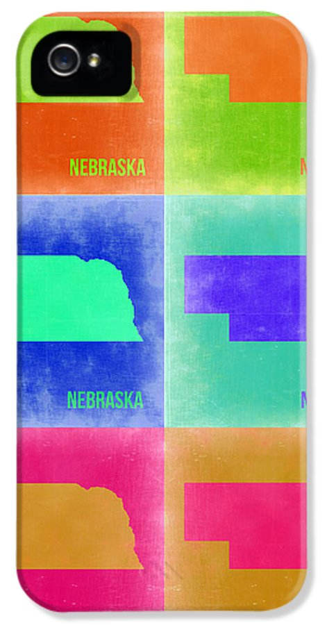 Nebraska Map IPhone 5 Case featuring the painting Nebraska Pop Art Map 2 by Naxart Studio