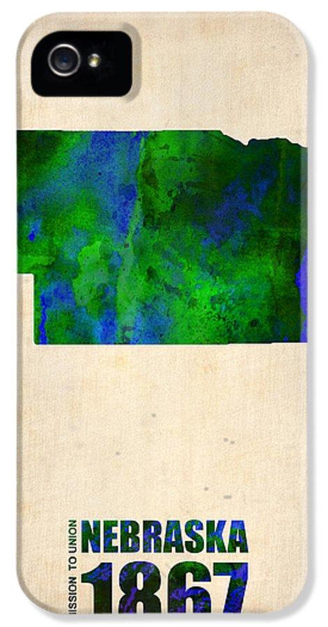 Nebraska IPhone 5 / 5s Case featuring the digital art Nebraska Watercolor Map by Naxart Studio