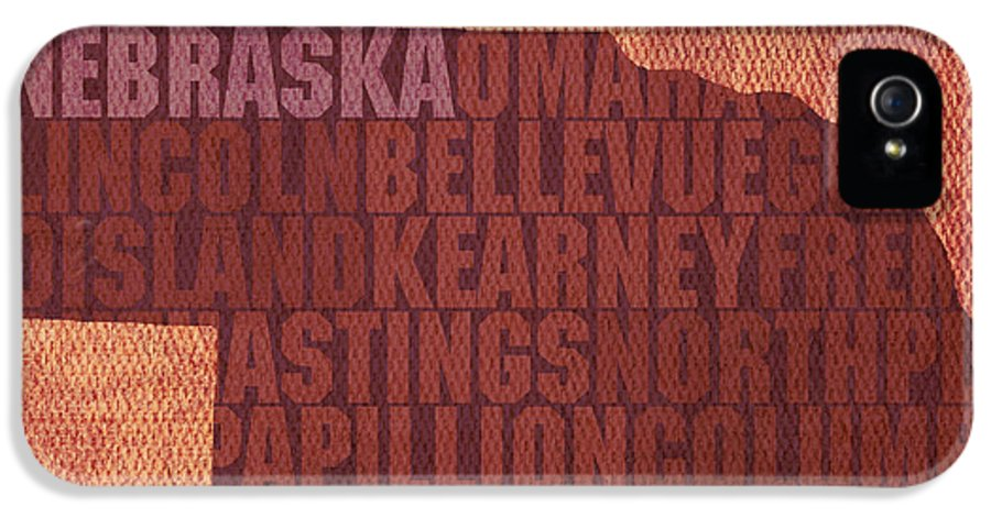 Nebraska Word Art State Map On Canvas IPhone 5 Case featuring the mixed media Nebraska Word Art State Map On Canvas by Design Turnpike