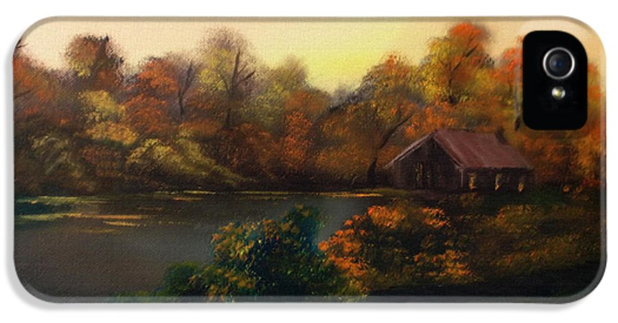 #landscape IPhone 5 Case featuring the mixed media New Day In Autumn Sold by Cynthia Adams
