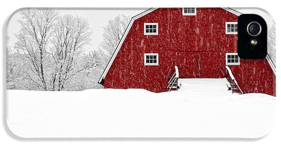 Etna IPhone 5 Case featuring the photograph New England Red Barn In Winter Snow Storm by Edward Fielding