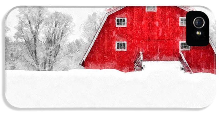 Etna IPhone 5 Case featuring the photograph New England Red Barn In Winter Snow Storm Watercolor by Edward Fielding