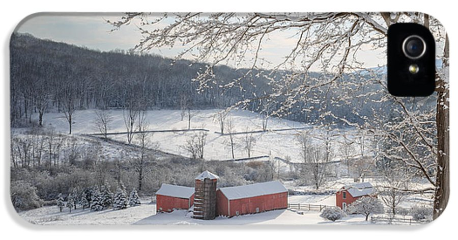 Square IPhone 5 Case featuring the photograph New England Winter Farms Morning Square by Bill Wakeley