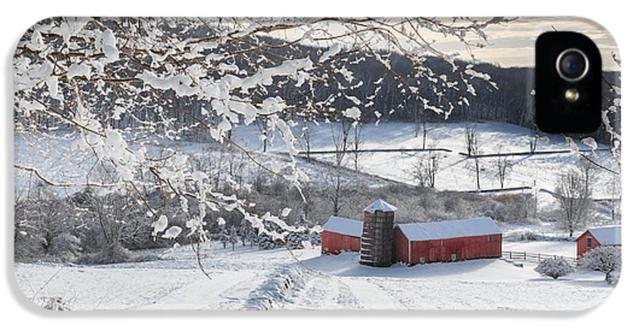 Square IPhone 5 Case featuring the photograph New England Winter Farms Square by Bill Wakeley