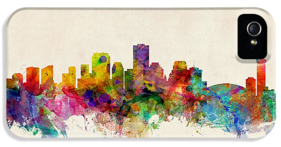 Watercolour IPhone 5 Case featuring the digital art New Orleans Louisiana Skyline by Michael Tompsett