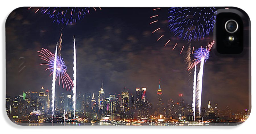 New York City IPhone 5 Case featuring the photograph New York City Fireworks Show by Songquan Deng