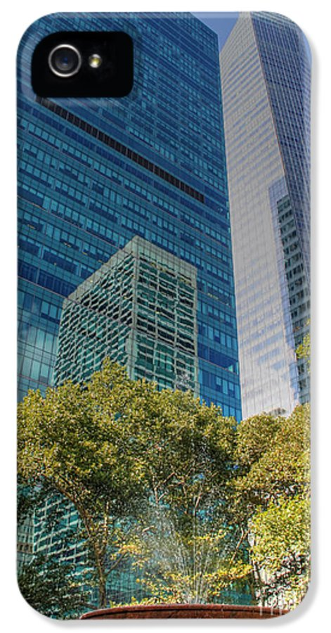 New York IPhone 5 Case featuring the photograph New York City Reflections by Bob Hislop