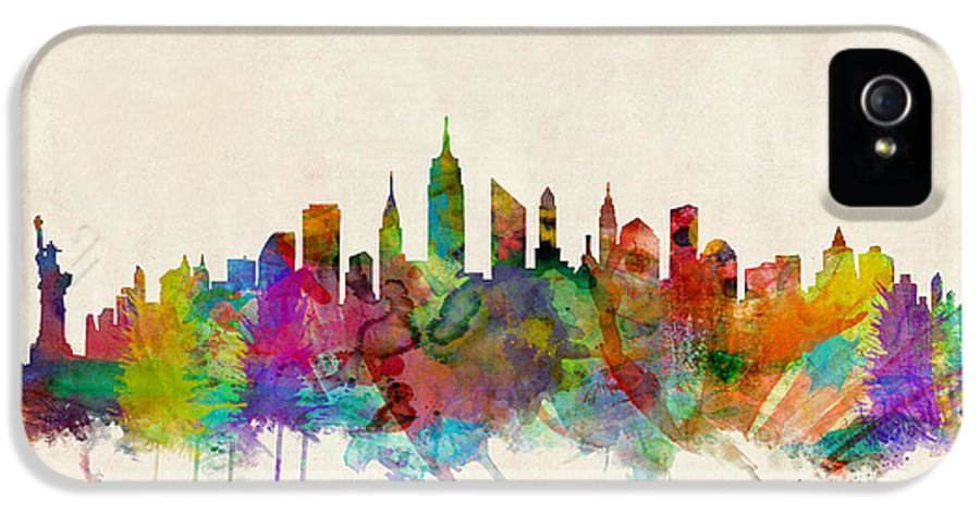 New York IPhone 5 Case featuring the digital art New York City Skyline by Michael Tompsett