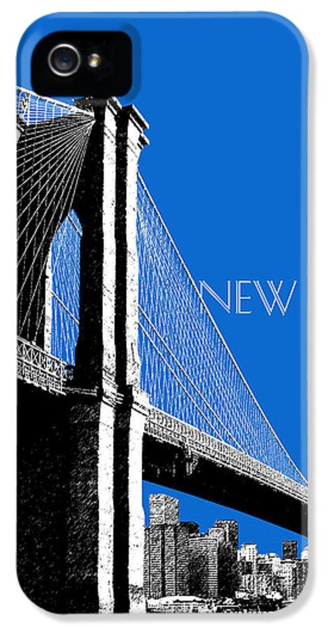 Architecture IPhone 5 Case featuring the digital art New York Skyline Brooklyn Bridge - Blue by DB Artist